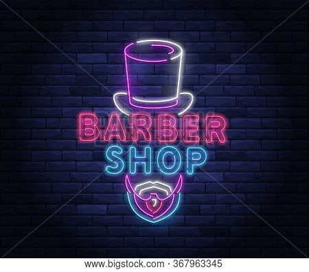Illuminated Neon Barber Shop Design With Gentleman Top Hat. Hairstyling And Beard Grooming Salon For