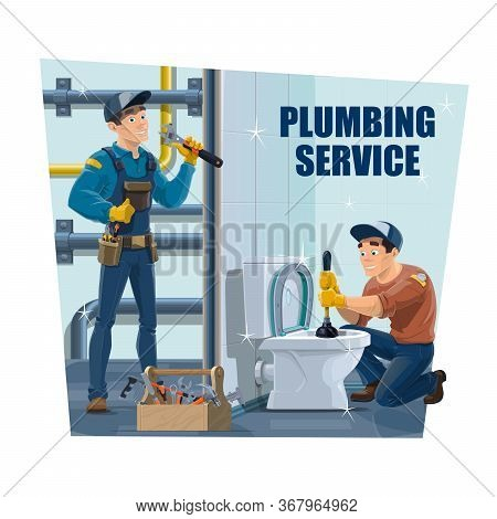 Plumbing And Repair Service Industry Vector Poster. Worker Repair Pipe And Unclog Toilet Blockage Wi