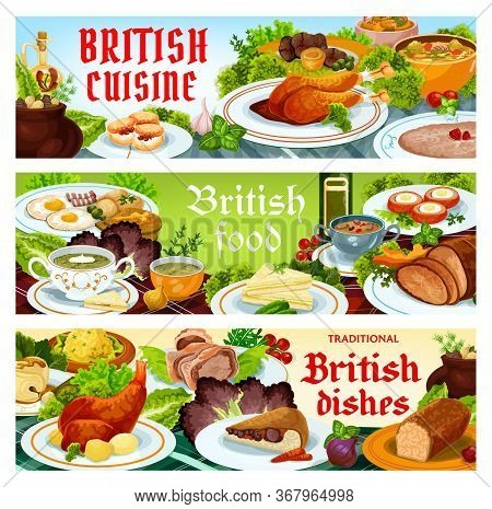 Britain Cuisine Vector Food Cod With Sauce, Scotch Smoked Trout Plate. Christmas Turkey, English Kid