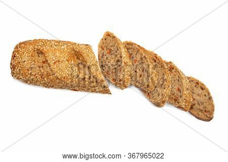 Vegetable Loaf With Sesame Seeds On A White Isolated Background. Part Of The Loaf Is Chopped. Copy S