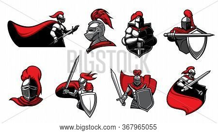 Medieval Knights With Swords, Isolated Heraldic Vector Icons. Warriors, Paladin Or Guards With Blade