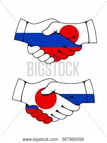 Handshake With Flags Of Japan And Russia, Vector Asian And European Countries Partnership. Japanese