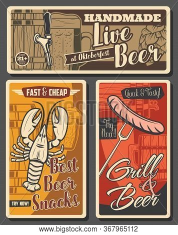 Beer Brewing And Snacks, Brewery Retro Vector Posters. Wooden Barrel With Tap, Tankard And Wood Pint