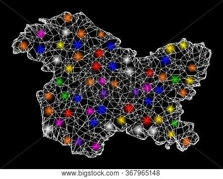 Web Mesh Vector Map Of Jammu And Kashmir State With Glare Effect On A Black Background. Abstract Lin
