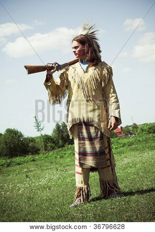 North American Indian in full dress. Reconstruction poster