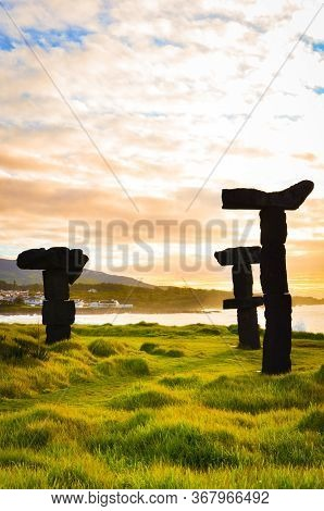 Amazing Stone Formation By The Populo Beach, Praia Do Populo In Sao Miguel Island, Azores, Portugal