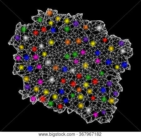 Web Mesh Vector Map Of Kujawy-pomerania Province With Glare Effect On A Black Background. Abstract L