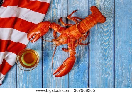 American Holiday Food Homemade Boiled Red Lobster On Fine Selection Of Crustacean For Dinner On A Ru