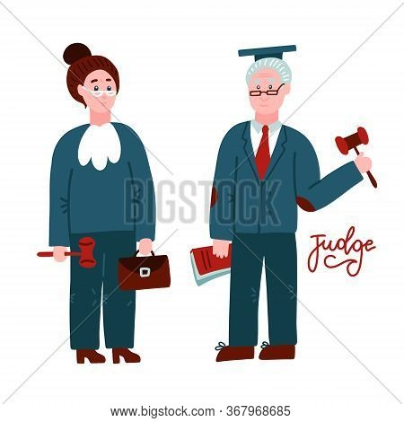 Two Judges Woman And Man.court Workers In Judicial Robe Holding Book And Hummer. Law Justice Profess