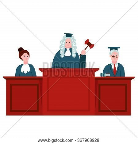 Federal Supreme Court With Judges. Jurisprudence And Law Concept. Illustration Of Legal Court, Judge