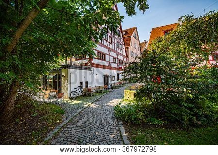 Ulm City Architecture, Germany, Europe. Beautiful Old Timbered Houses With Trees And Park.