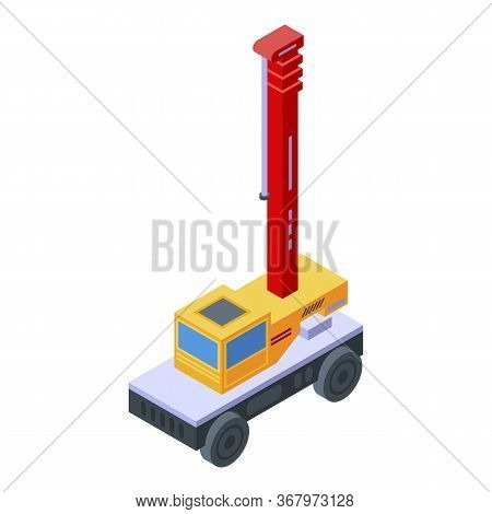 Lift Truck Crane Icon. Isometric Of Lift Truck Crane Vector Icon For Web Design Isolated On White Ba