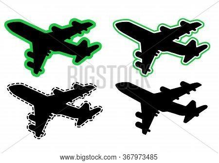 Passenger Airplane Liner In The Sky. Vector Illustration