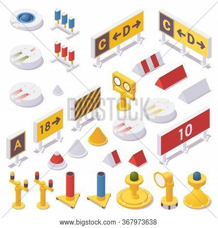 Isometric Set Of Airport Lights, Taxiway Signs, Runway Guard, Approach, Touchdown Zone And Advanced