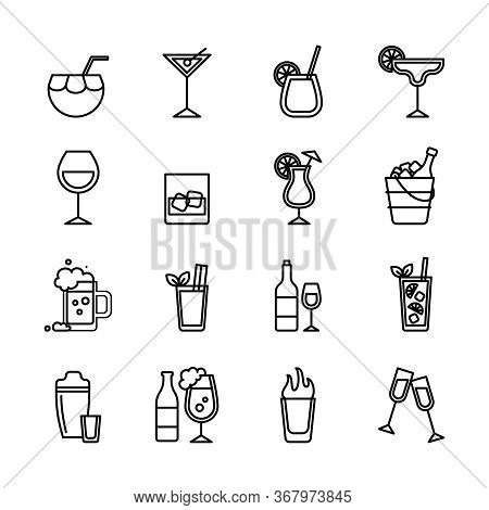 Beverage Sign Black Thin Line Icon Set Include Of Cocktail, Martini, Beer And Liquor. Vector Illustr
