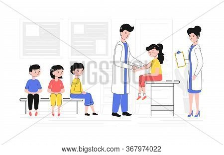 Cartoon Color Characters People And Children Vaccination Concept Flat Design Style And Lineart Eleme