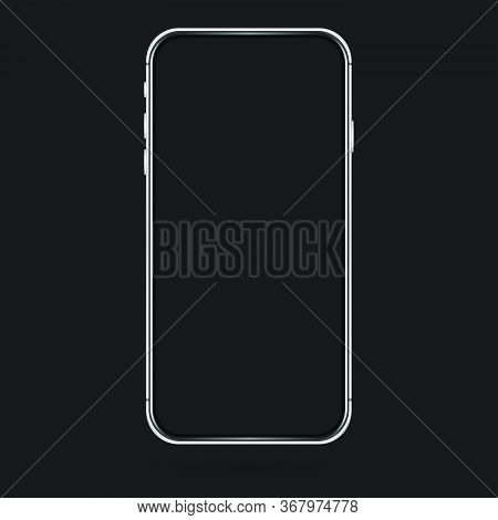 Isolated Empty Cell Phone Mockup. Silver Phone On The Dark Background. Silver Phone On The Black Bac