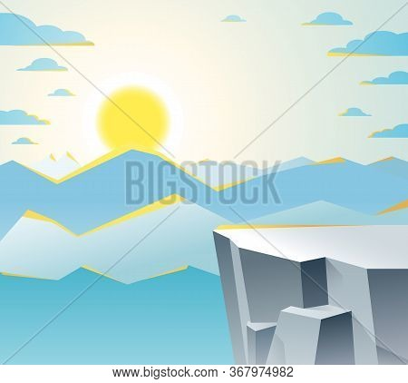 Beautiful Mountain Landscape With Setting Sun In The Evening, Sundown Over Peak Scenic Nature Vector