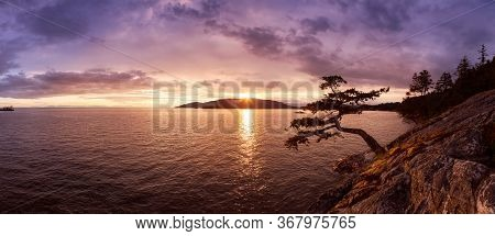 Beautiful Panoramic View Of Howe Sound And Rocky Coast During A Colorful Dramatic Sunset. Taken From