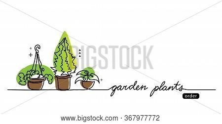 Garden Plants In The Pots Vector Sketch, Web Banner, Illustration, Background. One Continuous Line D