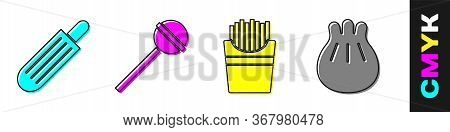 Set French Hot Dog, Lollipop, Potatoes French Fries In Box And Khinkali On Cutting Board Icon. Vecto