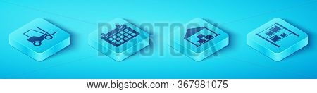 Set Isometric Forklift Truck, Calendar, Warehouse And Warehouse Icon. Vector.