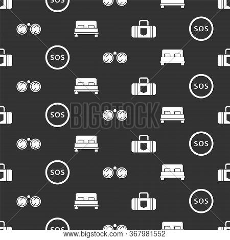 Set Suitcase, Location With Sos, Binoculars And Big Bed On Seamless Pattern. Vector.