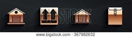 Set Warehouse, This Side Up, Warehouse And Envelope Icon With Long Shadow. Vector.