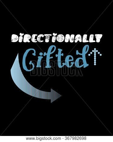 Directionally Gifted Concepts For People Who Have A Great Sense Of Direction.  Blue Arrows On A Blac
