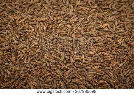 Surface Covered With Cumin Seeds As A Backdrop Texture Composition
