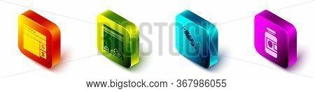 Set Isometric Buying Drugs Online, Plastic Bag Of Drug, Syringe And Medicine Bottle And Pills Icon.