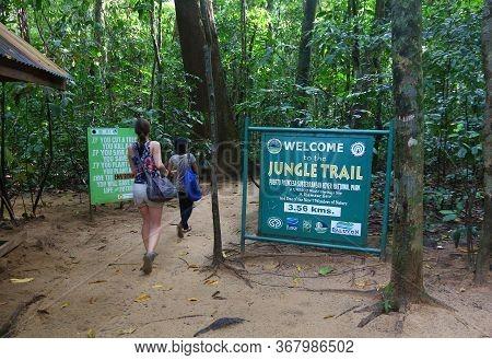 Puerto Princesa, Philippines - November 29, 2017: Tourist Visits Jungle Trail At Puerto Princesa Sub