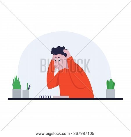 Businessman Sitting At Office Desk. He Holds Hands Behind Head. The Man Is Pained. Side View. Color