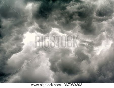 Grey Dark Storm Cloud Covers The Sky