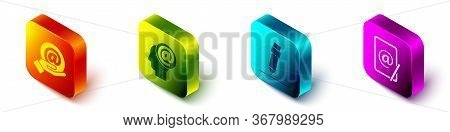 Set Isometric Mail And E-mail In Hand, Mail And E-mail, Pencil With Eraser And Mail And E-mail Icon.