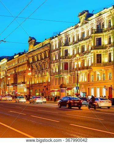 Night Saint Petersburg Cityscape With Traffic On Illuminated Nevsky Prospect, Russia