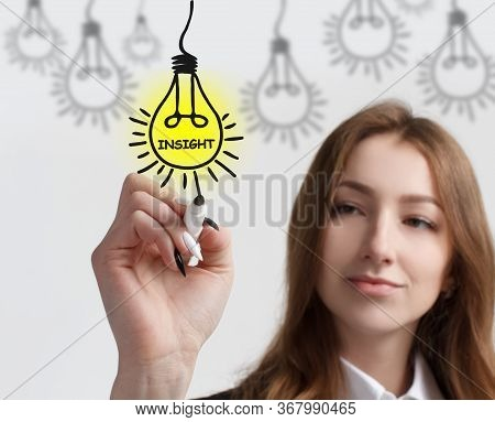 Business, Technology, Internet And Networking Concept. Young Entrepreneur Showing Keyword: Insight