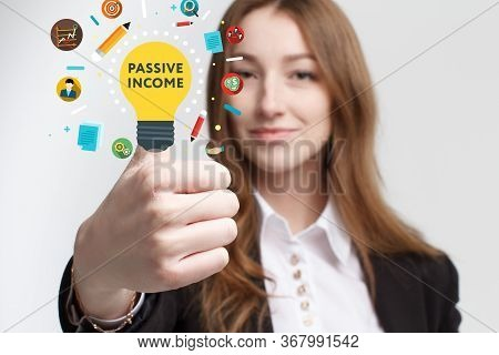 Business, Technology, Internet And Networking Concept. Young Entrepreneur Showing Keyword: Passive I