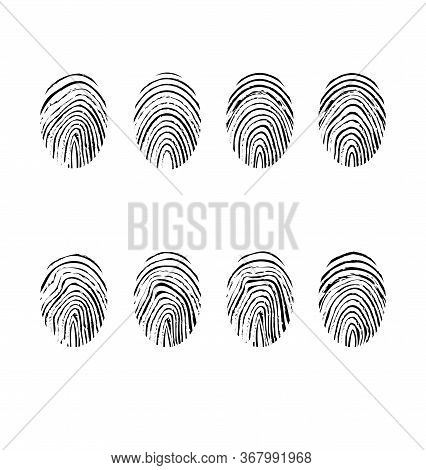 Fingerprint Icons Set Isolated On White Background. Vector Illustration