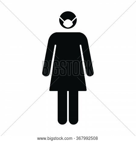 Virus And Flu Face Mask Icon Vector Person Profile Female Avatar Symbol For Health Care Protection I