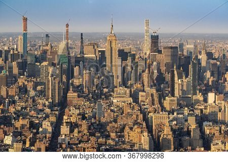 High angle view landscape New York Mid town Skylines skyscrapers  office building cityscape from Manhattan in New York City United States. NYC USA Landmark Travel Destination and cityscape concept.