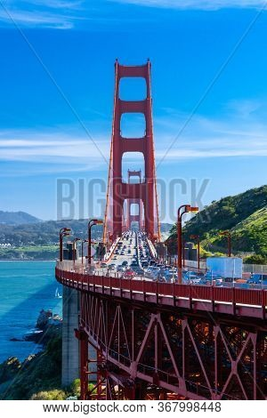 Golden Gate bridge View Vista point with beautiful blue sky landscape in San Francisco North California USA West Coast of Pacific Ocean, United States Landmark Travel Destination and cityscape concept