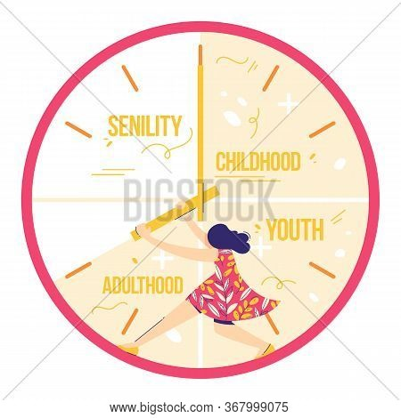 Fear Of Age. Woman Is Trying To Stop Time. Not Enough Time Concept. Girl Holds Clock Hands.
