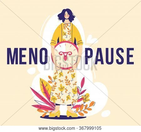 Menopause Concept. Woman Holds Clock With Female Genital Organs Silhouette. Sign Menopause.