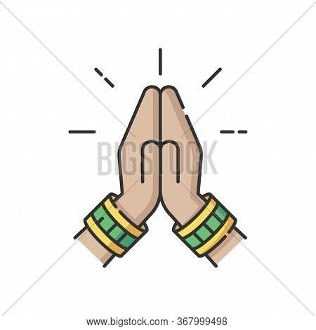 Namaste Rgb Color Icon. Hindu Greeting. Hands Pressed Together. Respectful Salutation. Anjali Mudra.