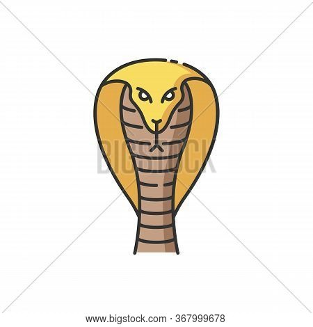 King Cobra Rgb Color Icon. Hamadryad. Venomous Snake With Hood. Dangerous Reptile. Endemic Species O