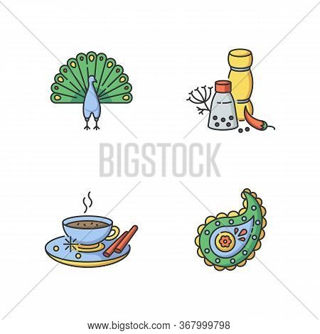 Indian Culture Rgb Color Icons Set. National Animal. Peacock. Traditional Cuisine. Masala Chai. Pais