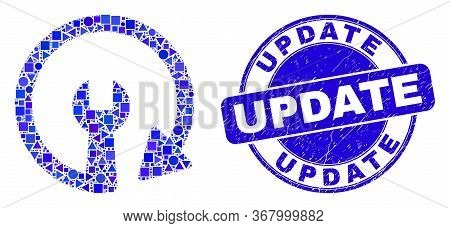 Geometric Update Repair Wrench Mosaic Pictogram And Update Seal. Blue Vector Round Grunge Seal With