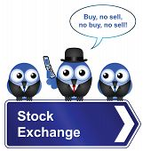 Comical stock exchange sign isolated on white background poster