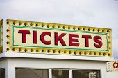 Ticket booth for rides at a carnival in St. Ann Missouri. poster